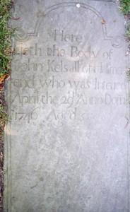 Gravestone of John Kelsall at Audley