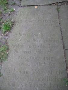 Gravestone of Richard Kelsall at Audley